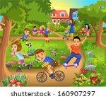 children having fun in the park | Shutterstock .eps vector #160907297
