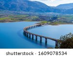 The bridge of Servia over Polyfytos lake in Kozani.