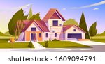 unfinished house construction.... | Shutterstock .eps vector #1609094791