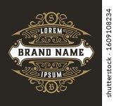 antique logo with floral details   Shutterstock .eps vector #1609108234