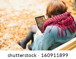 woman using tablet computer... | Shutterstock . vector #160911899