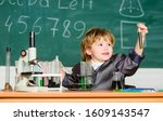 boy microscope and test tubes...   Shutterstock . vector #1609143547