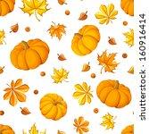 seamless pattern with pumpkins...   Shutterstock .eps vector #160916414