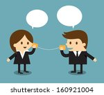 businessman and woman talking... | Shutterstock .eps vector #160921004