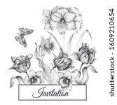 wedding invitations cards... | Shutterstock . vector #1609210654