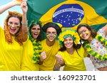 group of happy brazilian soccer ... | Shutterstock . vector #160923701