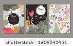 set of vector modern artistic... | Shutterstock .eps vector #1609242451