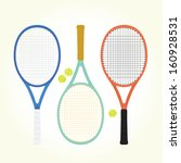tennis rackets and balls... | Shutterstock .eps vector #160928531