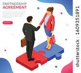 handshake business man and...   Shutterstock .eps vector #1609351891