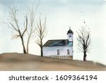 watercolor landscape with a... | Shutterstock . vector #1609364194