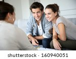 couple meeting architect for... | Shutterstock . vector #160940051