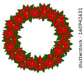 christmas wreath with red... | Shutterstock . vector #160942631