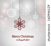 christmas card with white and... | Shutterstock .eps vector #160946129