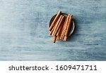 Ceylon Cinnamon Sticks On Blue...