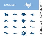 fauna icon set and arctic char... | Shutterstock .eps vector #1609537411