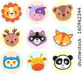 set of cute cartoon animals ... | Shutterstock .eps vector #160962344