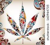 artistic leaf  cannabis  poster ... | Shutterstock . vector #160964735