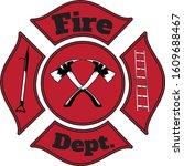 firefighter fire department... | Shutterstock .eps vector #1609688467