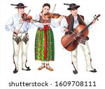 Polish Lesser Poland Highlanders Illustration. Traditional Folk Band of Four in Podhale Costumes Playing Violins.    - stock photo