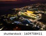 Night Aerial View Of Praia City ...