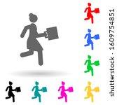 businesswoman  run multi color...