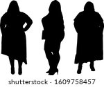 set of silhouettes of obese... | Shutterstock .eps vector #1609758457