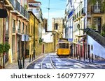 romantic lisbon street with the ... | Shutterstock . vector #160977977