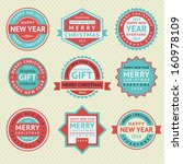 set stickers for christmas... | Shutterstock .eps vector #160978109