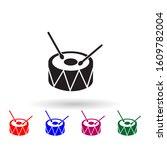 drum toy multi color icon....