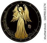 virgo zodiac sign. golden... | Shutterstock .eps vector #1609813174
