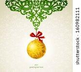 golden christmas ball with...   Shutterstock .eps vector #160982111
