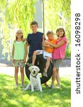 Kids And Dog In Yard