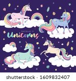 set of beautiful unicorns on... | Shutterstock .eps vector #1609832407