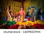 Woman Intha People Weaving...