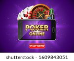 online poker casino background... | Shutterstock .eps vector #1609843051