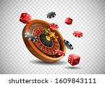 casino roulette wheel with... | Shutterstock .eps vector #1609843111