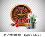 casino roulette wheel with... | Shutterstock .eps vector #1609843117