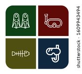 fins simple icons set. contains ... | Shutterstock .eps vector #1609943494
