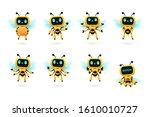 Set Of Cute Bee Robot Ai...