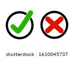 true and false icon in circle.... | Shutterstock .eps vector #1610045737