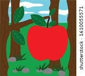 apple illustration close up in... | Shutterstock .eps vector #1610055571