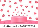 pink podium with pink heart in... | Shutterstock .eps vector #1610091934