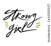 strong girl hand drawn... | Shutterstock .eps vector #1610103157