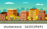 city outskirts with low rise... | Shutterstock .eps vector #1610139691