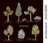 illustration tree set   Shutterstock .eps vector #161018081