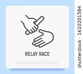race relay thin line icon.... | Shutterstock .eps vector #1610201584