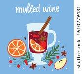 mulled wine with orange slice...   Shutterstock .eps vector #1610279431