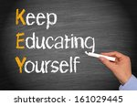 key   keep educating yourself | Shutterstock . vector #161029445