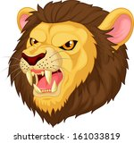 angry lion head cartoon...