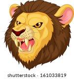 Angry Lion Head Cartoon...